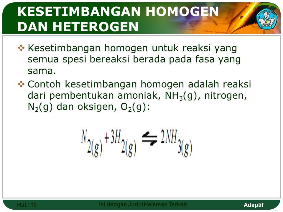 Adaptif  Atau  Dimana : Δn = (n produk) - (n reaktan)  Karena harga Kc mengacu pada satuan mol / liter dan Kp pada atmosfer, maka harga R harus din