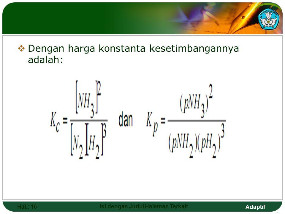 Adaptif KESETIMBANGAN HOMOGEN DAN HETEROGEN Hal.: 15 Isi dengan Judul Halaman Terkait  Kesetimbangan homogen untuk reaksi yang semua spesi bereaksi b