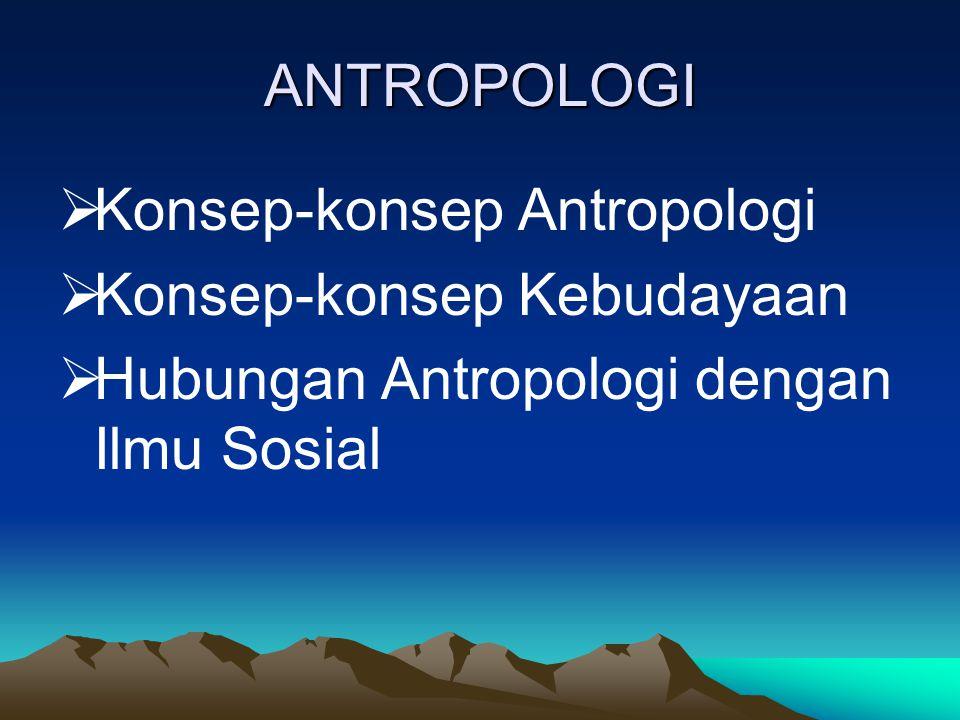 ANTROPOLOGI  Konsep-konsep Antropologi  Konsep-konsep Kebudayaan  Hubungan Antropologi dengan Ilmu Sosial