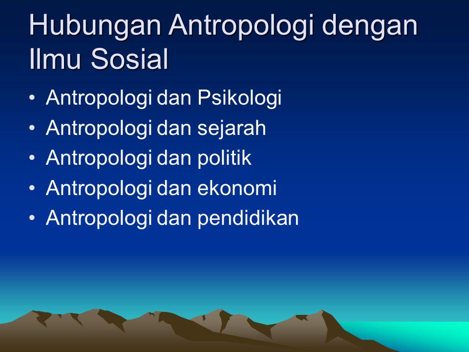 Hubungan Antropologi dengan Ilmu Sosial Antropologi dan Psikologi Antropologi dan sejarah Antropologi dan politik Antropologi dan ekonomi Antropologi