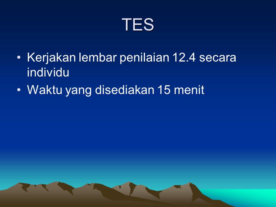 TES Kerjakan lembar penilaian 12.4 secara individu Waktu yang disediakan 15 menit
