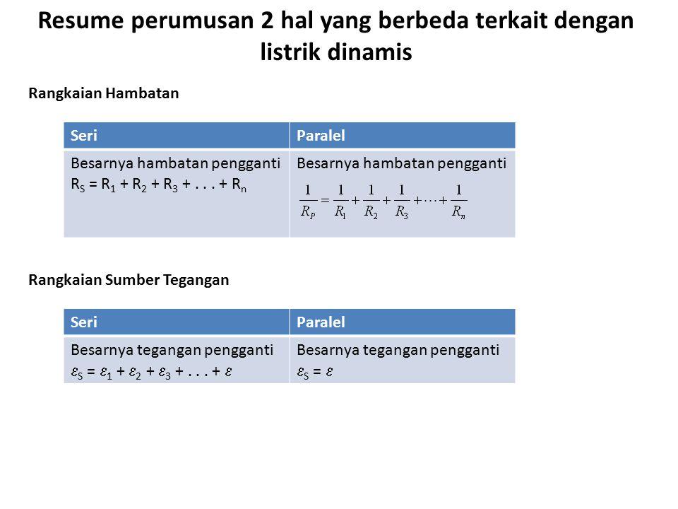 Resume perumusan 2 hal yang berbeda terkait dengan listrik dinamis SeriParalel Besarnya hambatan pengganti R S = R 1 + R 2 + R 3 +... + R n Besarnya h
