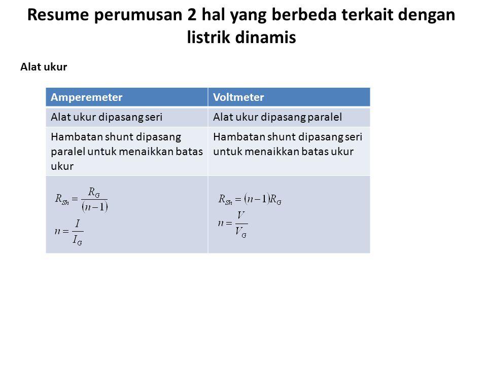 Resume perumusan 2 hal yang berbeda terkait dengan listrik dinamis SeriParalel Besarnya hambatan pengganti R S = R 1 + R 2 + R 3 +...