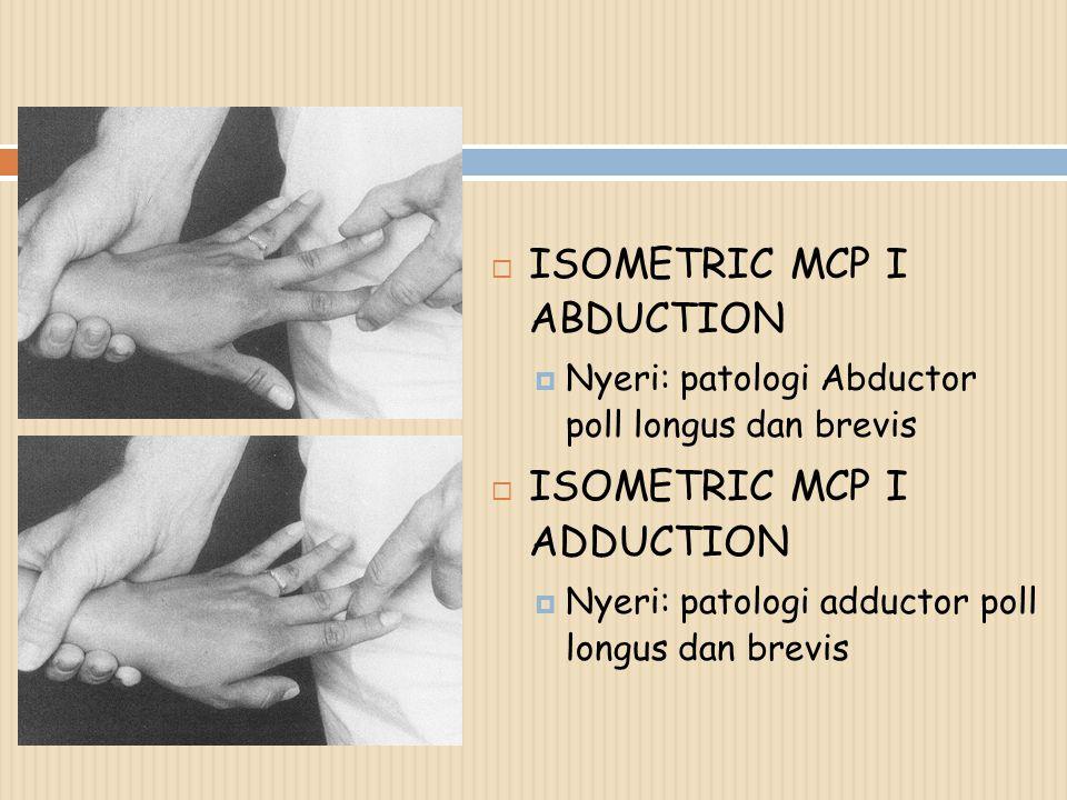  ISOMETRIC MCP I ABDUCTION  Nyeri: patologi Abductor poll longus dan brevis  ISOMETRIC MCP I ADDUCTION  Nyeri: patologi adductor poll longus dan b
