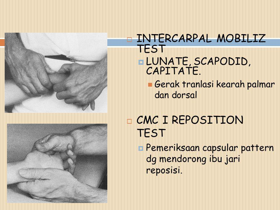  INTERCARPAL MOBILIZ TEST  LUNATE, SCAPODID, CAPITATE.