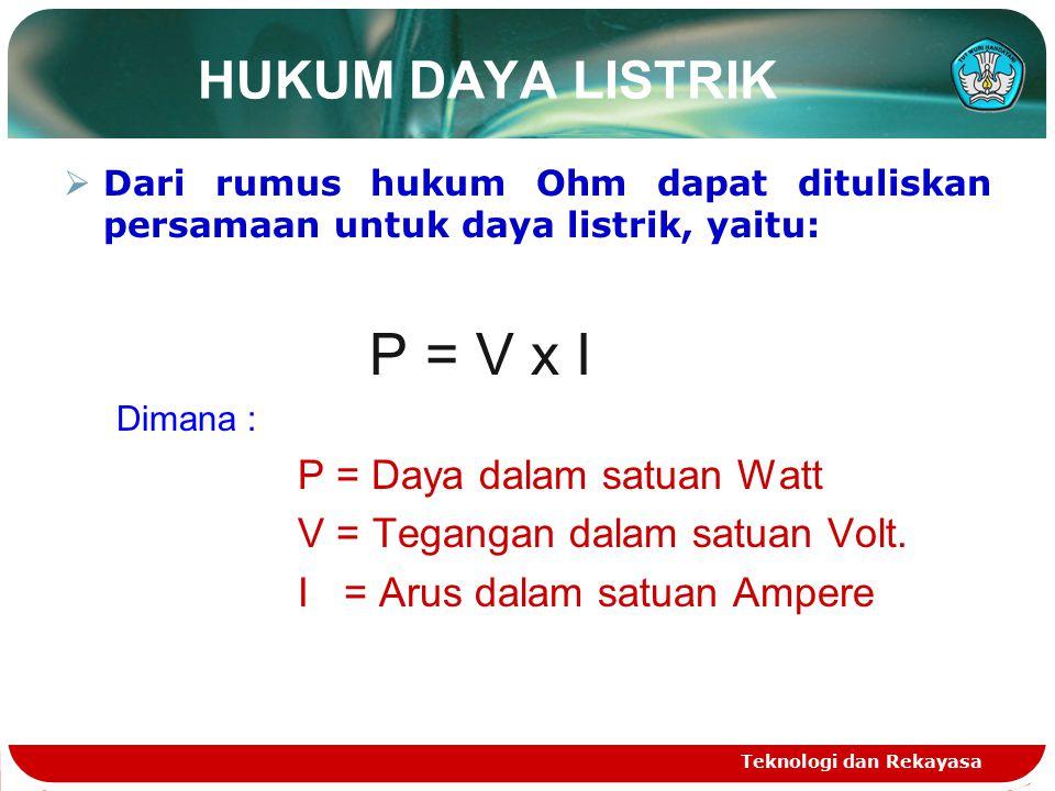 HUKUM DAYA LISTRIK  Dari rumus hukum Ohm dapat dituliskan persamaan untuk daya listrik, yaitu: P = V x I Dimana : P = Daya dalam satuan Watt V = Tegangan dalam satuan Volt.