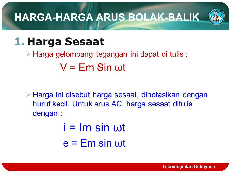 HARGA-HARGA ARUS BOLAK-BALIK 1.Harga Sesaat  Harga gelombang tegangan ini dapat di tulis : V = Em Sin ωt  Harga ini disebut harga sesaat, dinotasikan dengan huruf kecil.