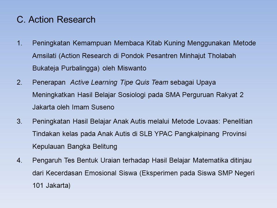 C. Action Research 1.Peningkatan Kemampuan Membaca Kitab Kuning Menggunakan Metode Amsilati (Action Research di Pondok Pesantren Minhajut Tholabah Buk