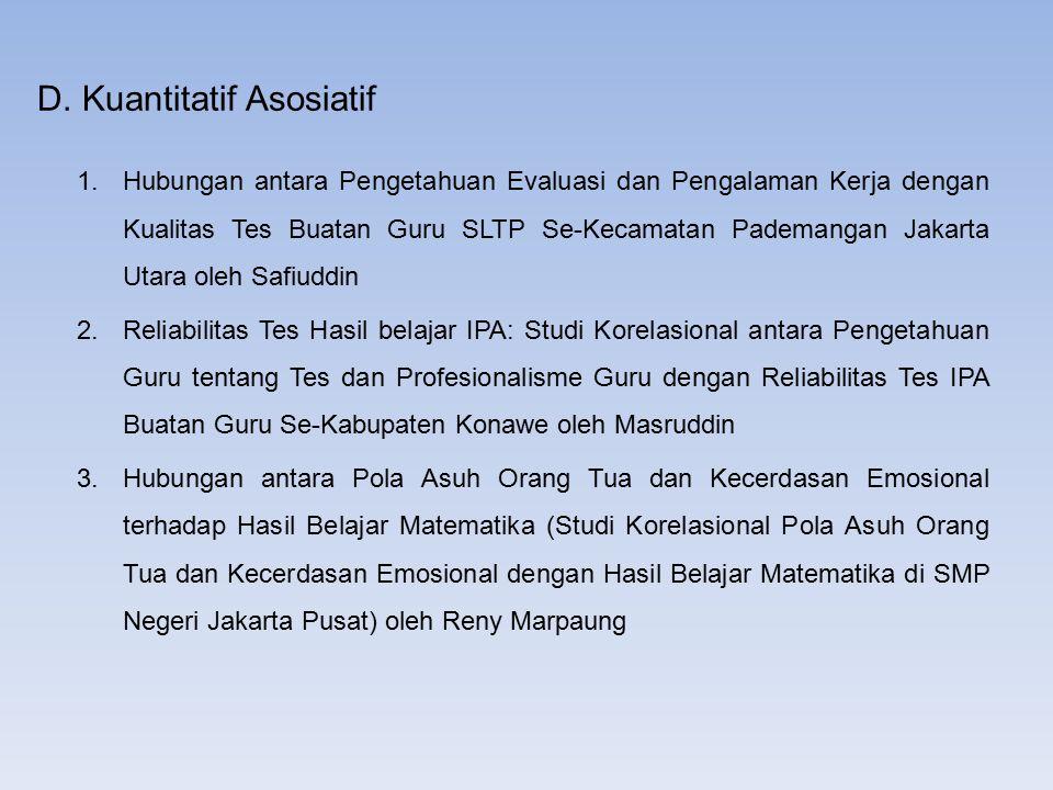 D. Kuantitatif Asosiatif 1.Hubungan antara Pengetahuan Evaluasi dan Pengalaman Kerja dengan Kualitas Tes Buatan Guru SLTP Se-Kecamatan Pademangan Jaka