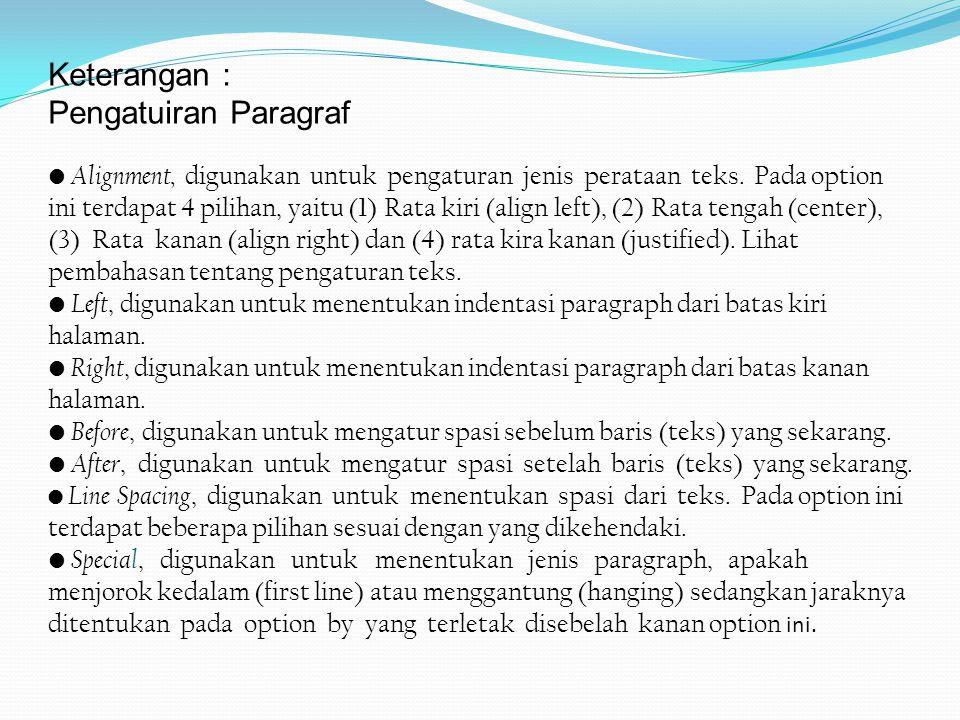 Keterangan : Pengatuiran Paragraf Alignment, digunakan untuk pengaturan jenis perataan teks. Pada option ini terdapat 4 pilihan, yaitu (1) Rata kiri (