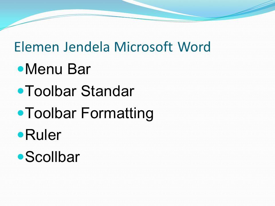 Elemen Jendela Microsoft Word Menu Bar Toolbar Standar Toolbar Formatting Ruler Scollbar