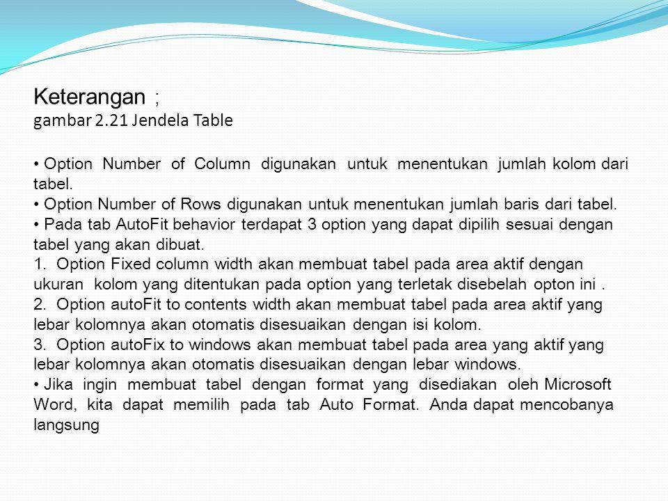Keterangan ; gambar 2.21 Jendela Table Option Number of Column digunakan untuk menentukan jumlah kolom dari tabel. Option Number of Rows digunakan unt