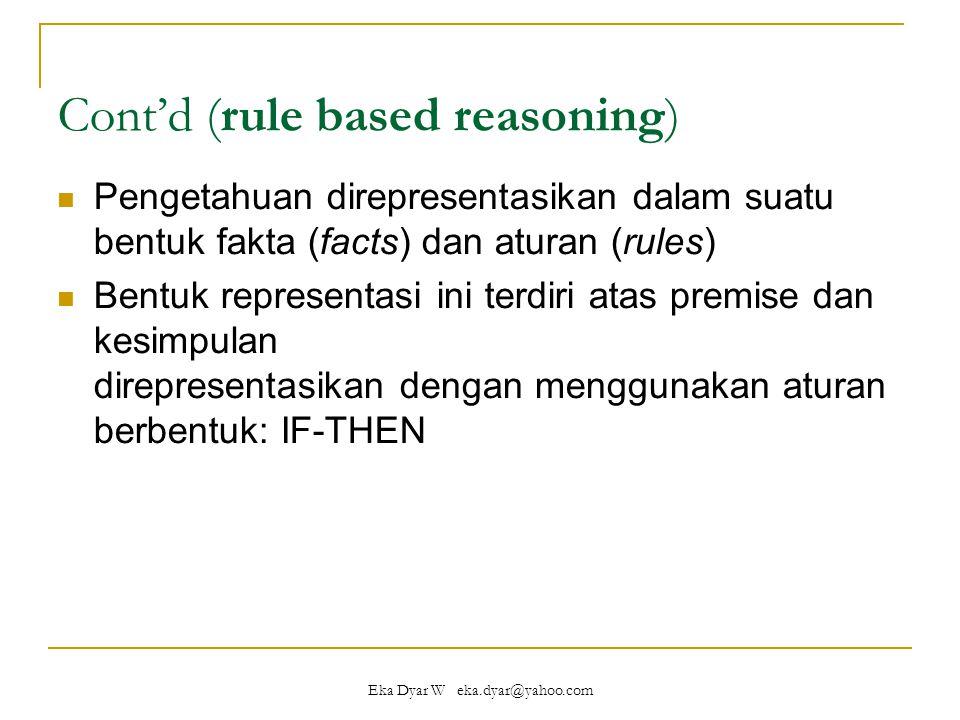 Eka Dyar W eka.dyar@yahoo.com Cont'd (rule based reasoning) Pengetahuan direpresentasikan dalam suatu bentuk fakta (facts) dan aturan (rules) Bentuk representasi ini terdiri atas premise dan kesimpulan direpresentasikan dengan menggunakan aturan berbentuk: IF-THEN