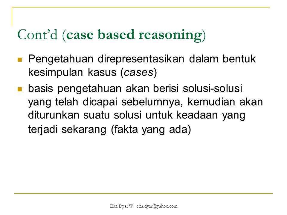 Eka Dyar W eka.dyar@yahoo.com Cont'd (case based reasoning) Pengetahuan direpresentasikan dalam bentuk kesimpulan kasus (cases) basis pengetahuan akan berisi solusi-solusi yang telah dicapai sebelumnya, kemudian akan diturunkan suatu solusi untuk keadaan yang terjadi sekarang (fakta yang ada)