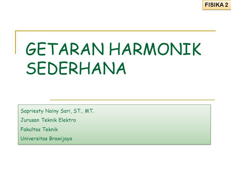 GETARAN HARMONIK SEDERHANA Sapriesty Nainy Sari, ST., MT. Jurusan Teknik Elektro Fakultas Teknik Universitas Brawijaya Sapriesty Nainy Sari, ST., MT.