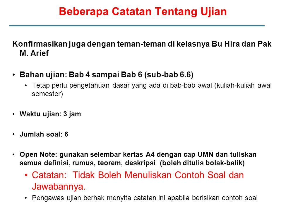 Konfirmasikan juga dengan teman-teman di kelasnya Bu Hira dan Pak M. Arief Bahan ujian: Bab 4 sampai Bab 6 (sub-bab 6.6) Tetap perlu pengetahuan dasar