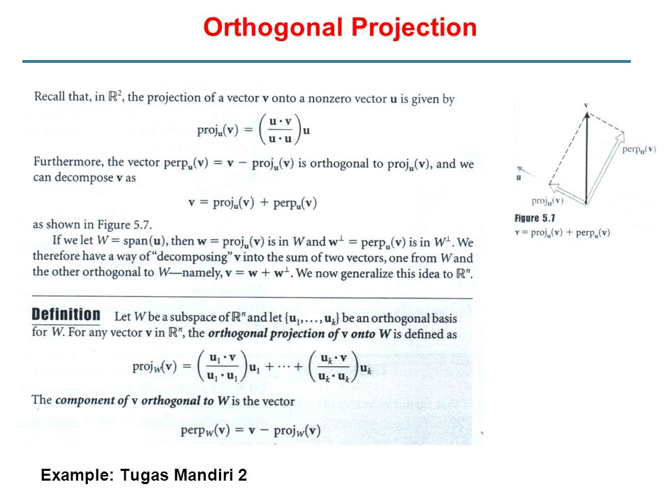 Orthogonal Projection Example: Tugas Mandiri 2