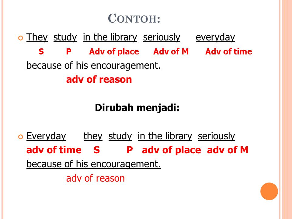 C ONTOH : They study in the library seriously everyday S P Adv of place Adv of M Adv of time because of his encouragement. adv of reason Dirubah menja