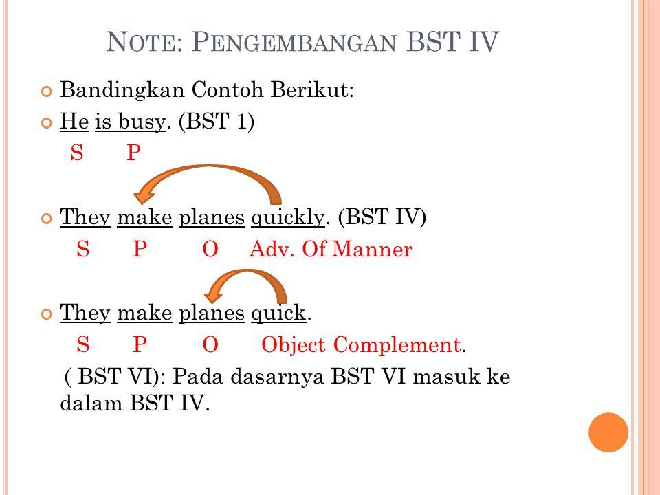 N OTE : P ENGEMBANGAN BST IV Bandingkan Contoh Berikut: He is busy.