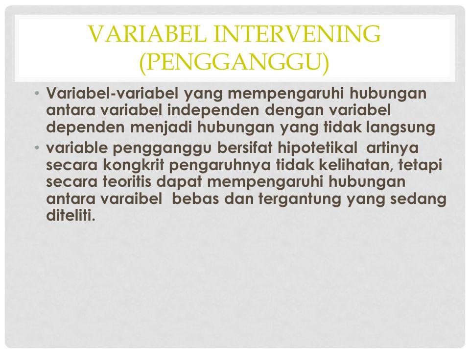 VARIABEL INTERVENING (PENGGANGGU) Variabel-variabel yang mempengaruhi hubungan antara variabel independen dengan variabel dependen menjadi hubungan ya