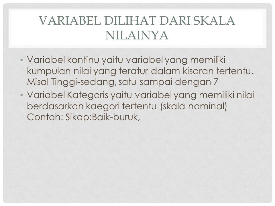 VARIABEL DILIHAT DARI SKALA NILAINYA Variabel kontinu yaitu variabel yang memiliki kumpulan nilai yang teratur dalam kisaran tertentu. Misal Tinggi-se