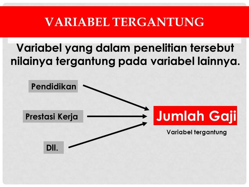 VARIABEL TERGANTUNG Variabel yang dalam penelitian tersebut nilainya tergantung pada variabel lainnya. Jumlah Gaji Pendidikan Prestasi Kerja Dll. Vari
