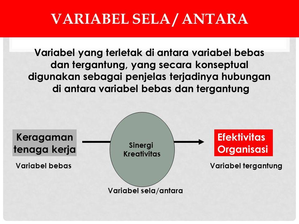 VARIABEL SELA / ANTARA Variabel yang terletak di antara variabel bebas dan tergantung, yang secara konseptual digunakan sebagai penjelas terjadinya hu