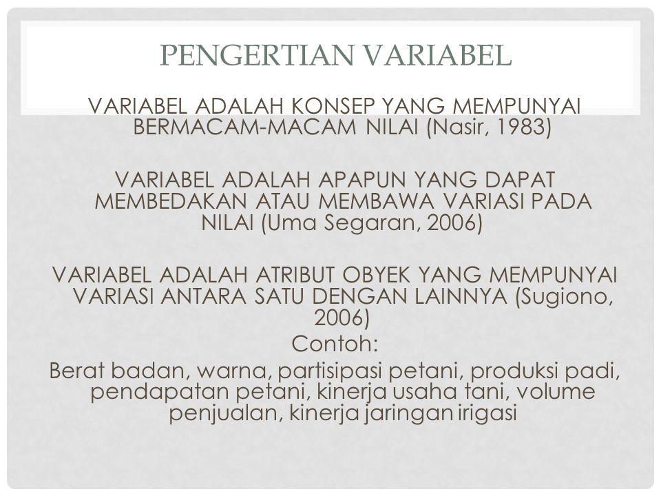PENGERTIAN VARIABEL VARIABEL ADALAH KONSEP YANG MEMPUNYAI BERMACAM-MACAM NILAI (Nasir, 1983) VARIABEL ADALAH APAPUN YANG DAPAT MEMBEDAKAN ATAU MEMBAWA