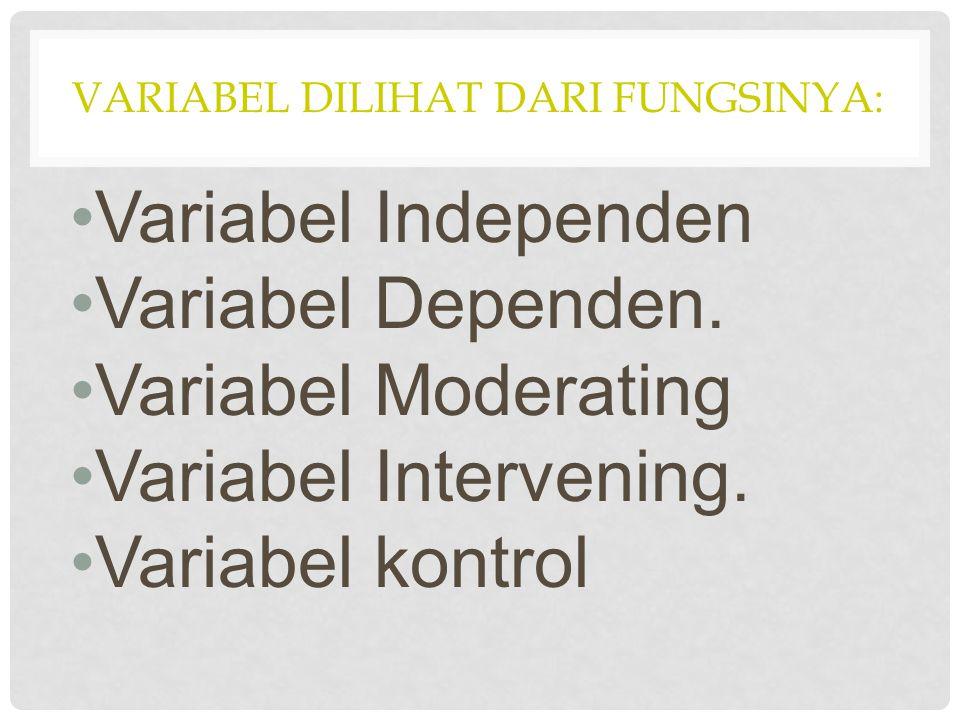VARIABEL DILIHAT DARI FUNGSINYA: Variabel Independen Variabel Dependen. Variabel Moderating Variabel Intervening. Variabel kontrol