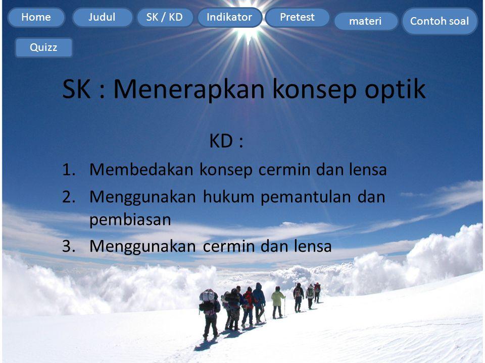 Home Contoh soal JudulSK / KDIndikatorPretest materi Quizz SK : Menerapkan konsep optik KD : 1.Membedakan konsep cermin dan lensa 2.Menggunakan hukum pemantulan dan pembiasan 3.Menggunakan cermin dan lensa