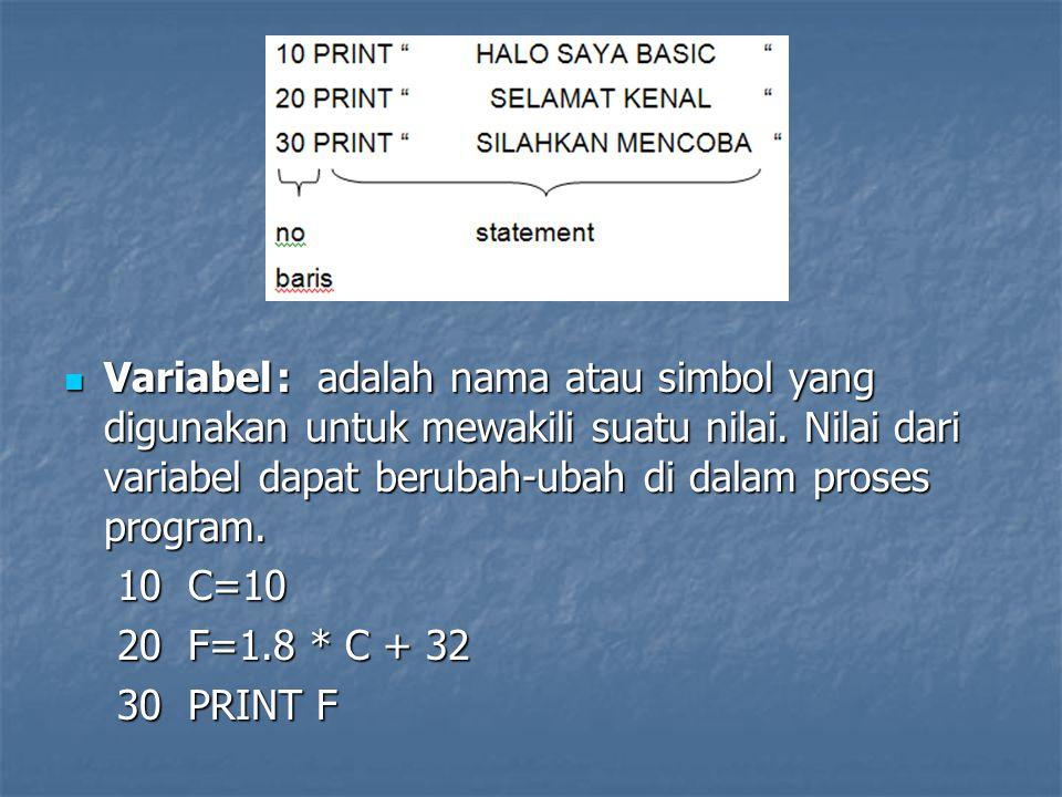 Elemen-Elemen Statement Statemen dibentuk dari elemen-elemen lain yang diawali dengan suatu verb.