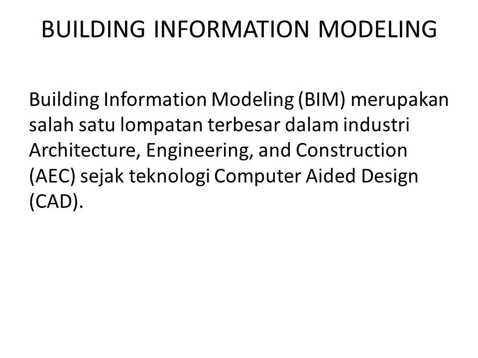 BUILDING INFORMATION MODELING Building Information Modeling (BIM) merupakan salah satu lompatan terbesar dalam industri Architecture, Engineering, and