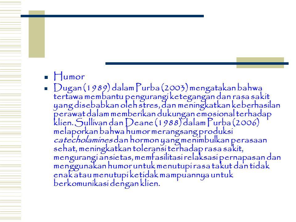 Humor Dugan (1989) dalam Purba (2003) mengatakan bahwa tertawa membantu pengurangi ketegangan dan rasa sakit yang disebabkan oleh stres, dan meningkat