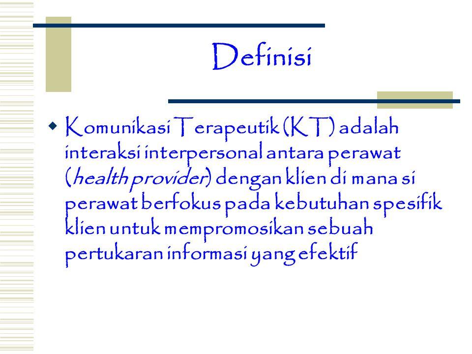 Definisi  Komunikasi Terapeutik (KT) adalah interaksi interpersonal antara perawat (health provider) dengan klien di mana si perawat berfokus pada ke