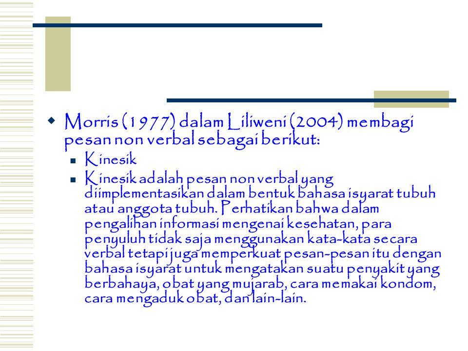  Morris (1977) dalam Liliweni (2004) membagi pesan non verbal sebagai berikut: Kinesik Kinesik adalah pesan non verbal yang diimplementasikan dalam b