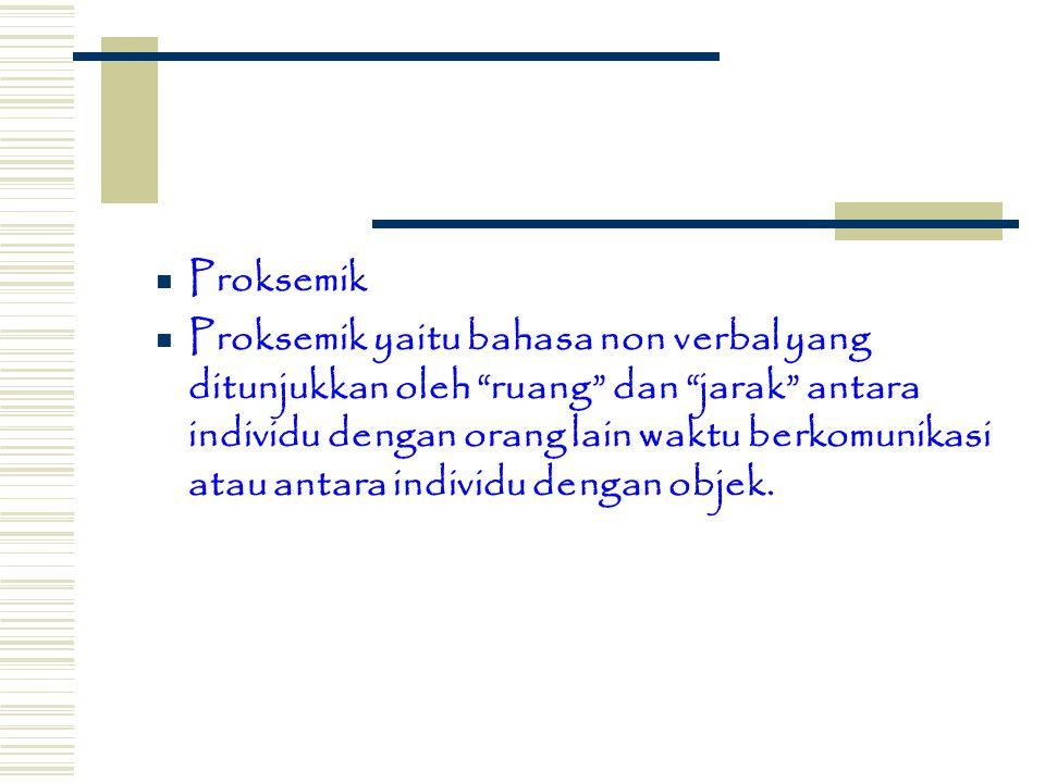 Proksemik Proksemik yaitu bahasa non verbal yang ditunjukkan oleh ruang dan jarak antara individu dengan orang lain waktu berkomunikasi atau antara individu dengan objek.