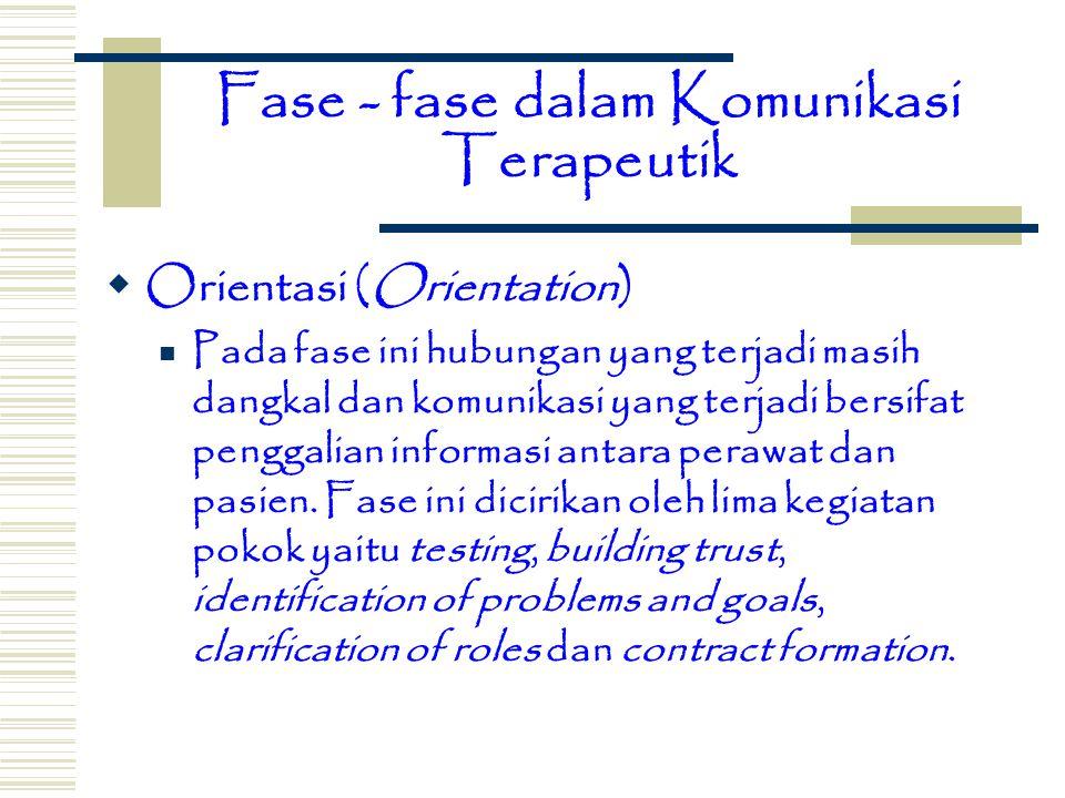 Fase - fase dalam Komunikasi Terapeutik  Orientasi (Orientation) Pada fase ini hubungan yang terjadi masih dangkal dan komunikasi yang terjadi bersif