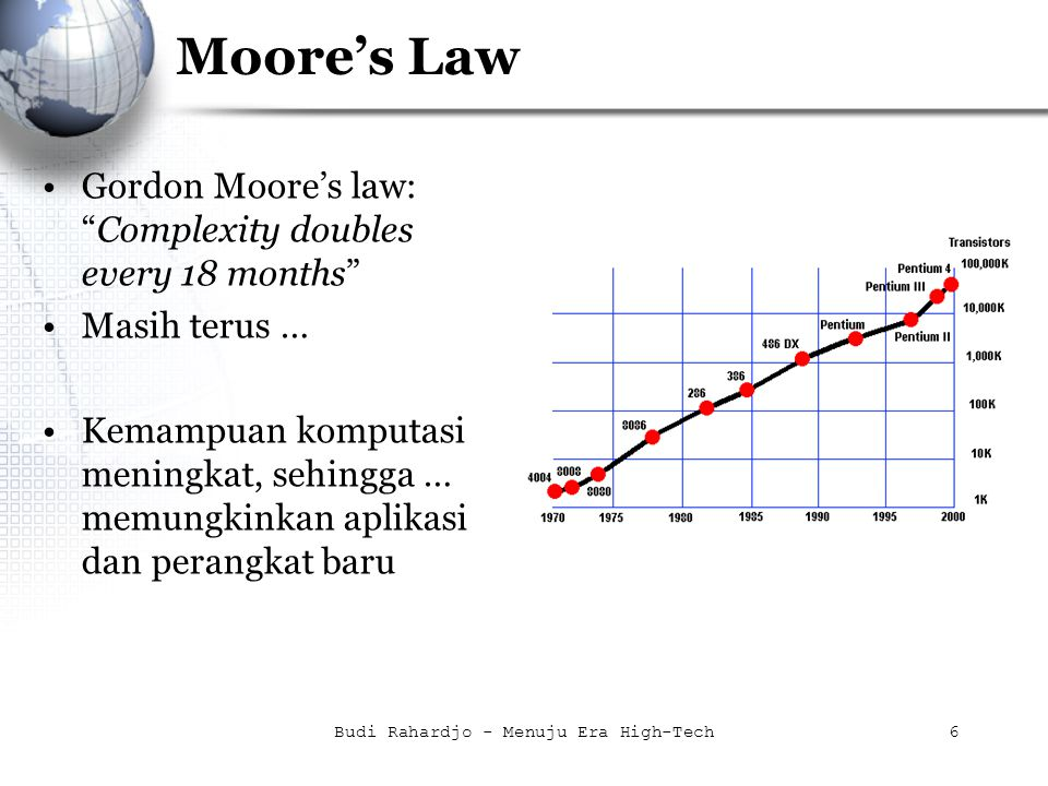 Budi Rahardjo - Menuju Era High-Tech6 Moore's Law Gordon Moore's law: Complexity doubles every 18 months Masih terus … Kemampuan komputasi meningkat, sehingga … memungkinkan aplikasi dan perangkat baru