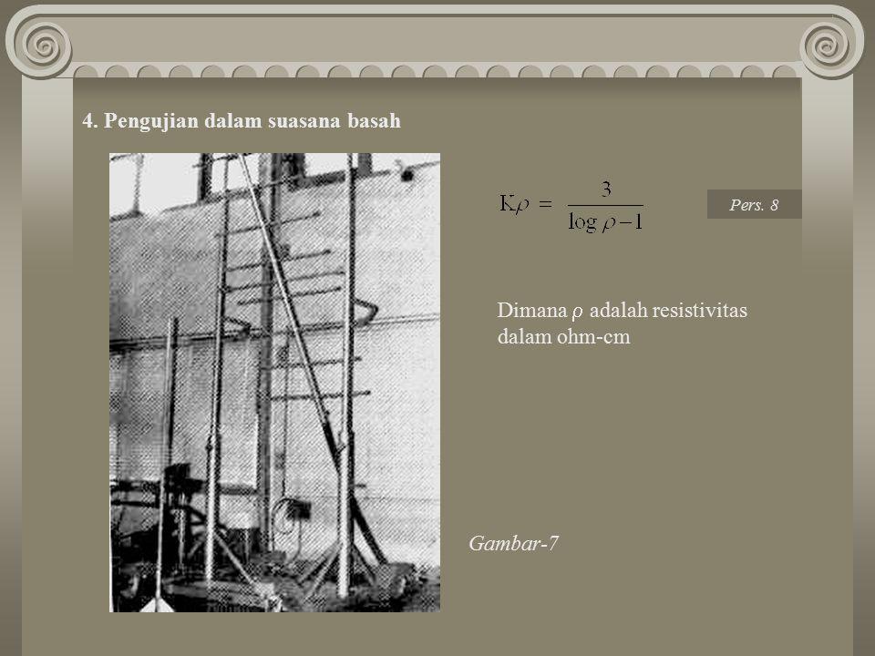 4. Pengujian dalam suasana basah Dimana  adalah resistivitas dalam ohm-cm Gambar-7 Pers. 8