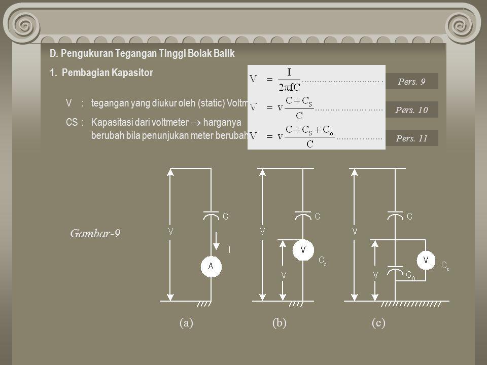 D. Pengukuran Tegangan Tinggi Bolak Balik 1. Pembagian Kapasitor V : tegangan yang diukur oleh (static) Voltmeter CS : Kapasitasi dari voltmeter  har