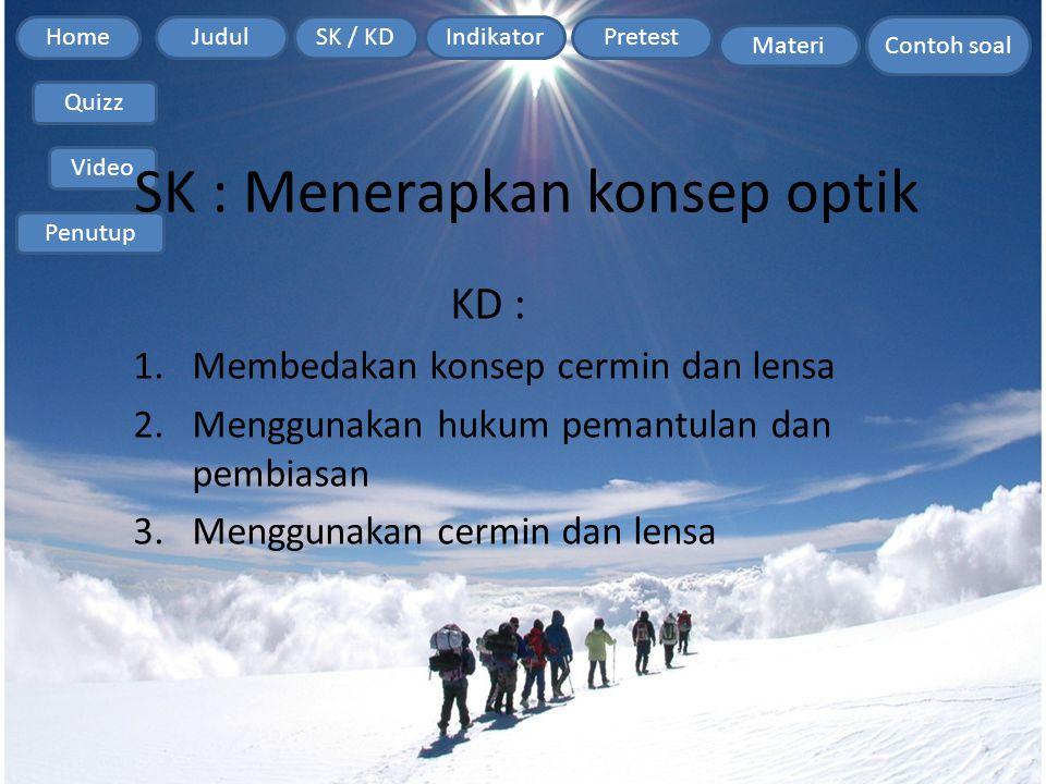 Home Contoh soal JudulSK / KDIndikatorPretest Materi Quizz Video Penutup SK : Menerapkan konsep optik KD : 1.Membedakan konsep cermin dan lensa 2.Meng
