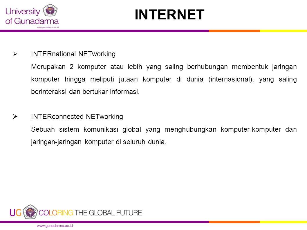  INTERnational NETworking Merupakan 2 komputer atau lebih yang saling berhubungan membentuk jaringan komputer hingga meliputi jutaan komputer di dunia (internasional), yang saling berinteraksi dan bertukar informasi.