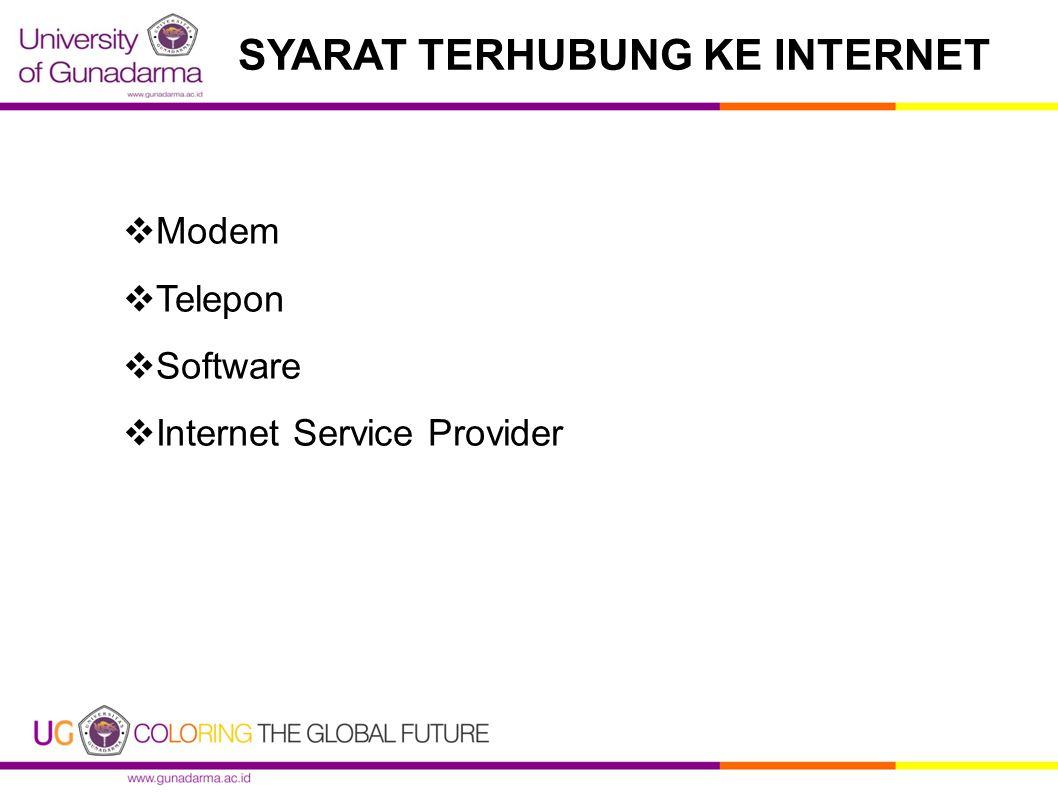 SYARAT TERHUBUNG KE INTERNET  Modem  Telepon  Software  Internet Service Provider