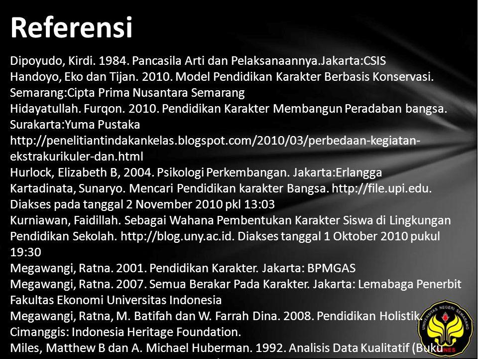 Referensi Dipoyudo, Kirdi. 1984. Pancasila Arti dan Pelaksanaannya.Jakarta:CSIS Handoyo, Eko dan Tijan. 2010. Model Pendidikan Karakter Berbasis Konse