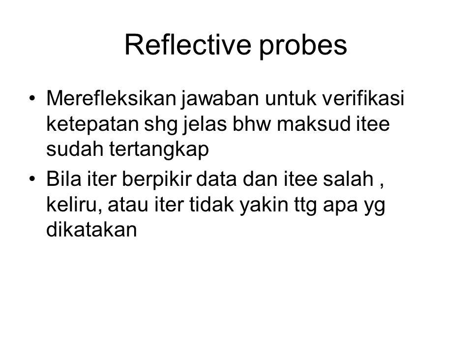 Reflective probes Merefleksikan jawaban untuk verifikasi ketepatan shg jelas bhw maksud itee sudah tertangkap Bila iter berpikir data dan itee salah,