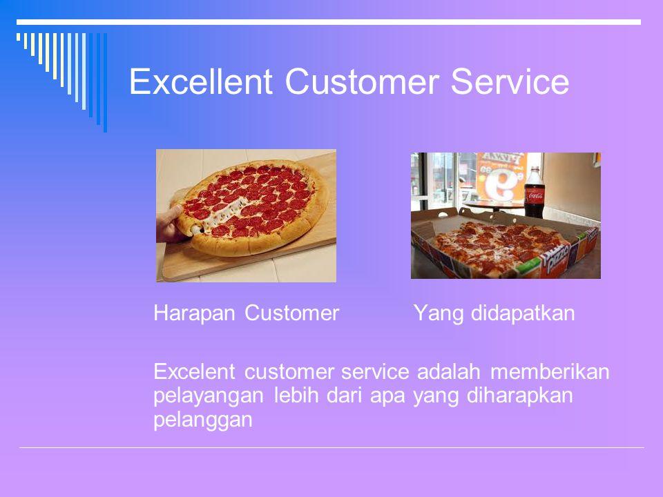 Excellent Customer Service Harapan Customer Yang didapatkan Excelent customer service adalah memberikan pelayangan lebih dari apa yang diharapkan pelanggan