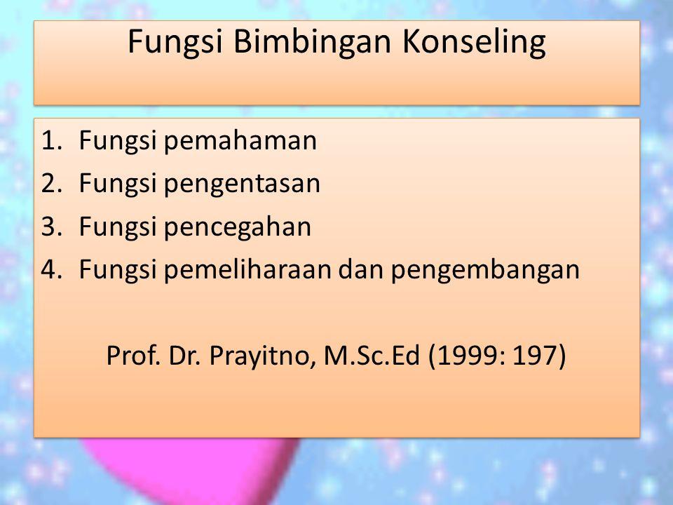 Fungsi Bimbingan Konseling 1.Fungsi pemahaman 2.Fungsi pengentasan 3.Fungsi pencegahan 4.Fungsi pemeliharaan dan pengembangan Prof.