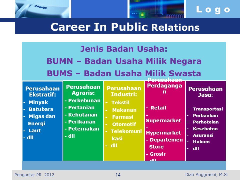 L o g o Career In Public Relations Jenis Badan Usaha: BUMN – Badan Usaha Milik Negara BUMS – Badan Usaha Milik Swasta Perusahaan Ekstratif: - Minyak -