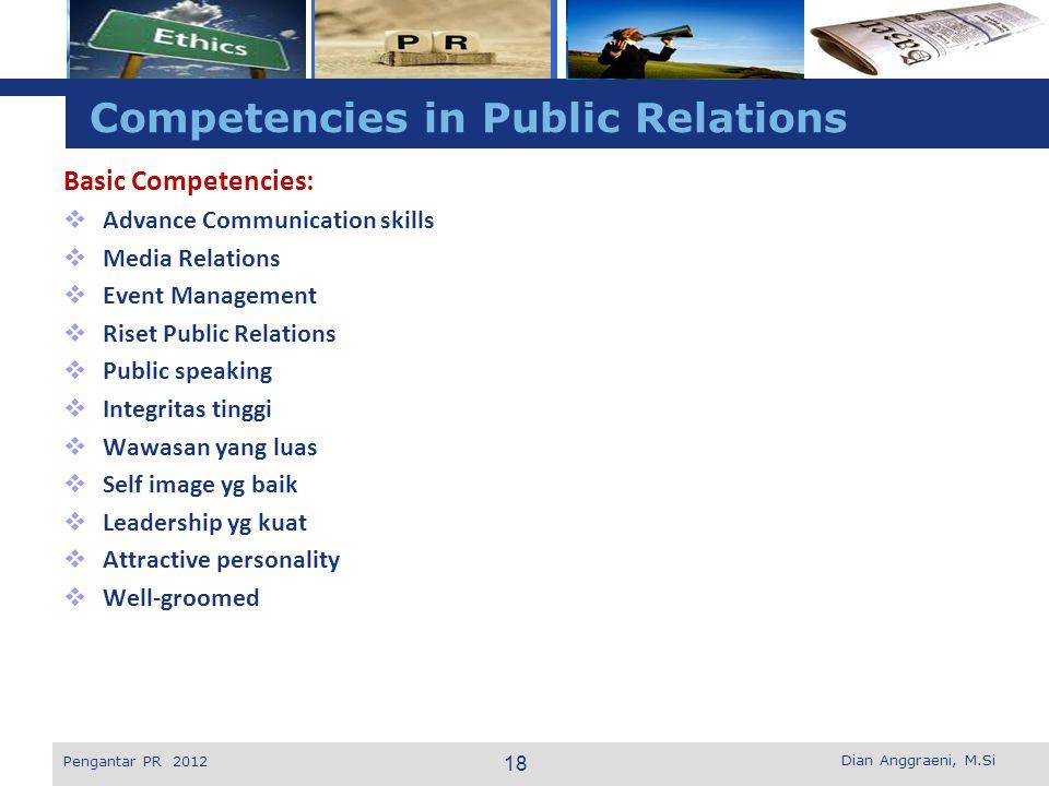 L o g o Competencies in Public Relations Basic Competencies:  Advance Communication skills  Media Relations  Event Management  Riset Public Relati