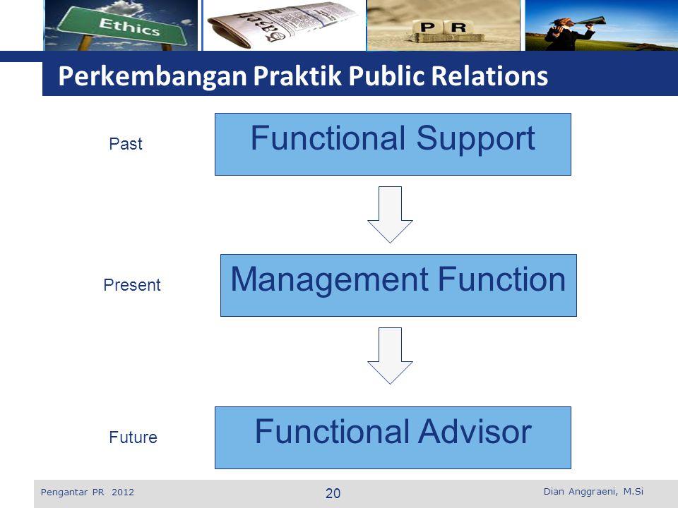 L o g o Perkembangan Praktik Public Relations Dian Anggraeni, M.Si Pengantar PR 2012 Functional Support Management Function Functional Advisor Past Pr